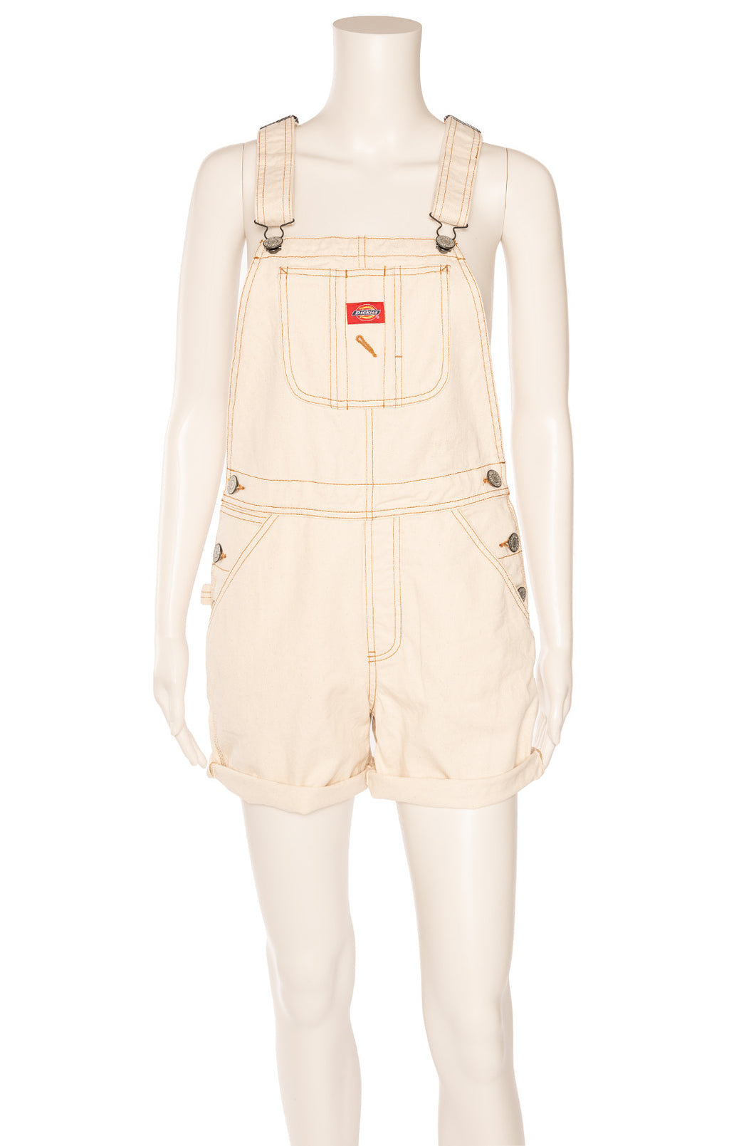 Beige denim carpenter overalls