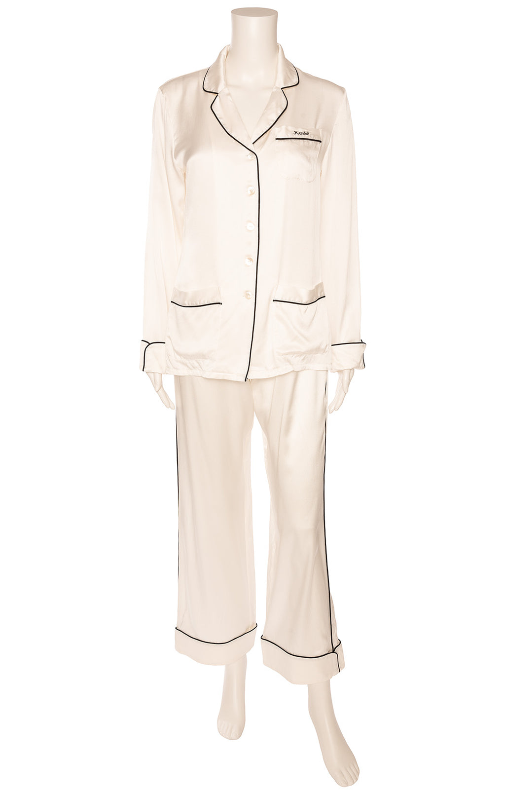 "White with black piping made to order ""Kendall"" pajamas"