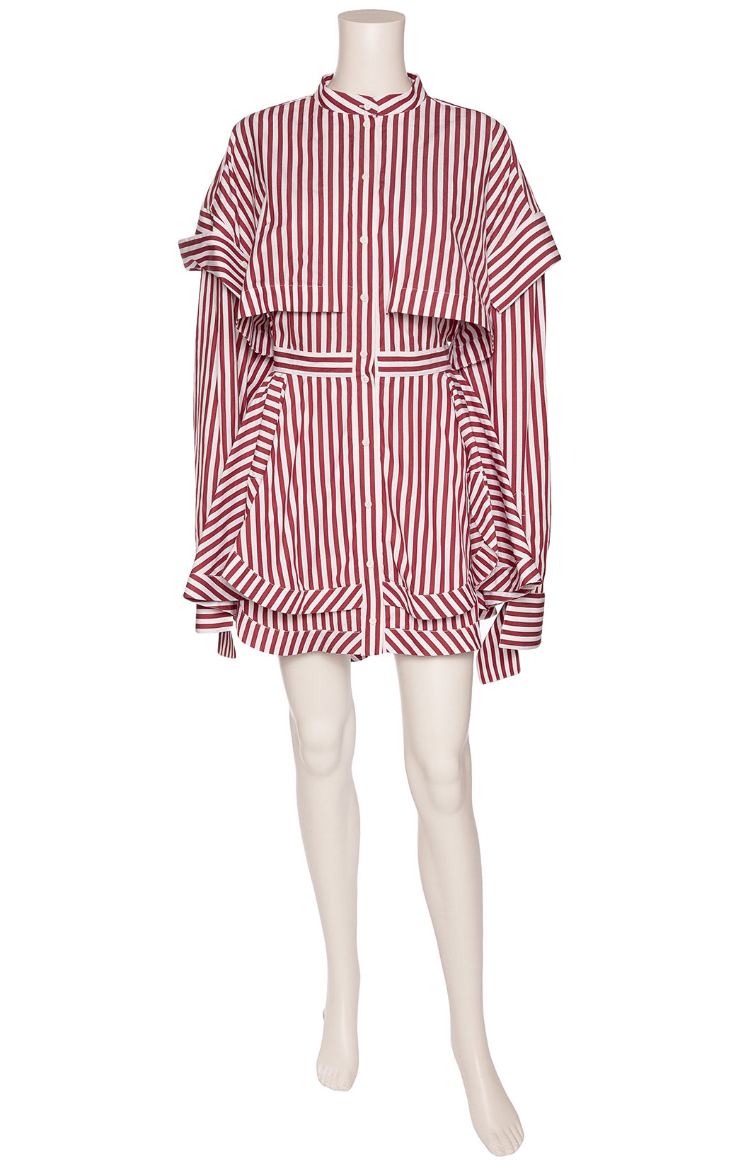 Maroon and white stripe dress