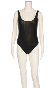 Black with black metallic thread design one piece bathing suit
