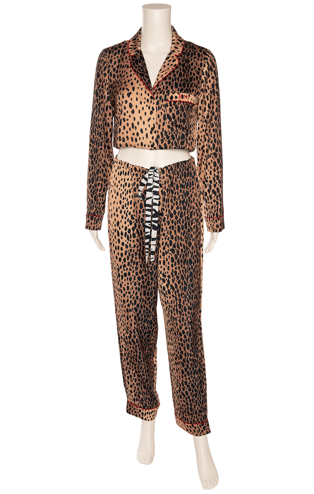 Leopard print crop top matching pajamas made to order for Kendall with her initials on pocket