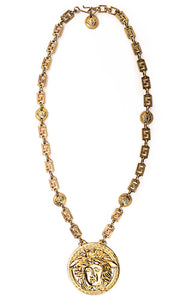 "Gold tone costume jewelry Medusa medallion on link chain (width .5"") with small (1"") Medusa's intermingled"