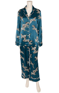 Blue with white and black Zebra print matching  pajamas