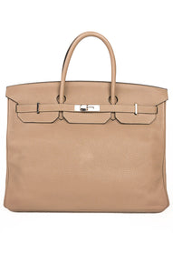 "Front view of HERMES BIRKIN 40 Handbag Size: H-12"" x W-16"" x D 8.25"" handle drop 5.5"""