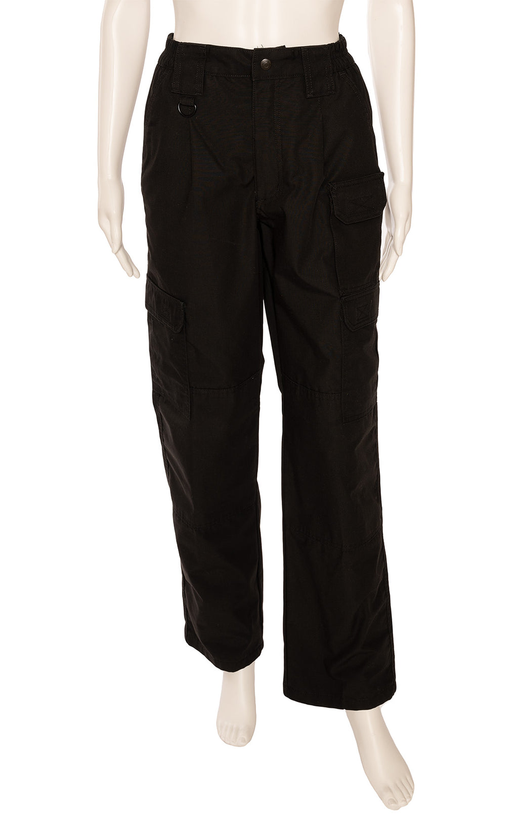 Black cargo pant with full leg and  elastic waist