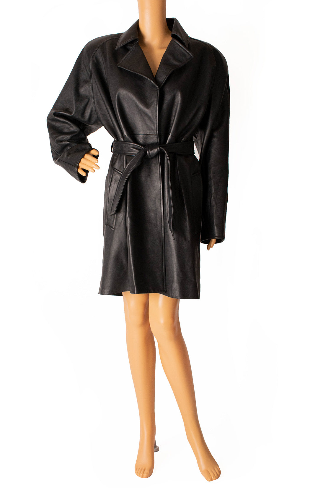 Front view of BALENCIAGA with tags Leather coat Size: FR 34 (comparable to US 2-4)