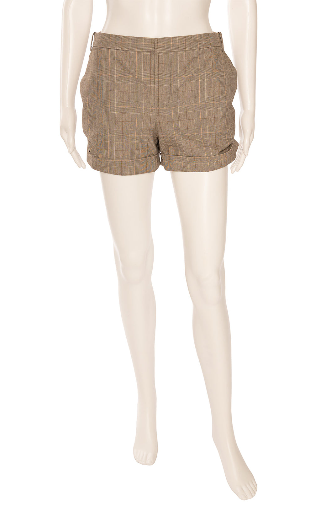 Brown plaid short shorts with front zipper, side ruching and back pockets