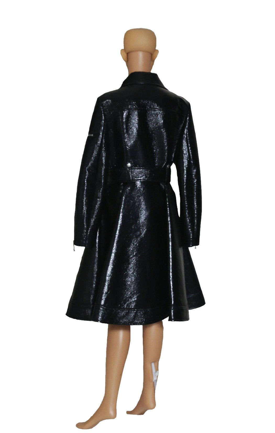 Back view of SARA BATTAGLIA Black Patent Trench Coat