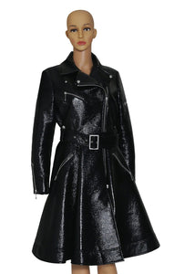 Closeup of SARA BATTAGLIA Black Patent Trench Coat Size: IT 44 (US 8)