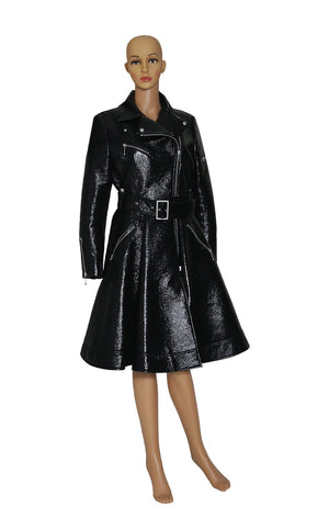 Front view of SARA BATTAGLIA Black Patent Trench Coat