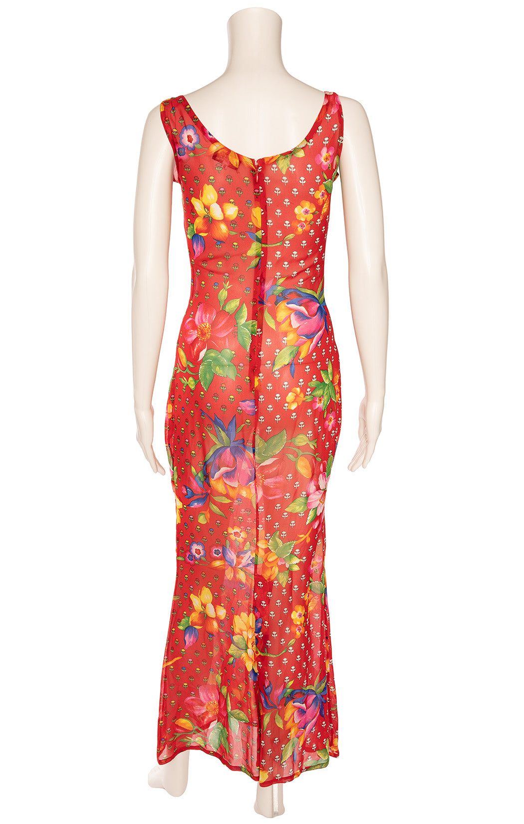 Red multi colored floral sleeveless print long dress with side slit and back zipper