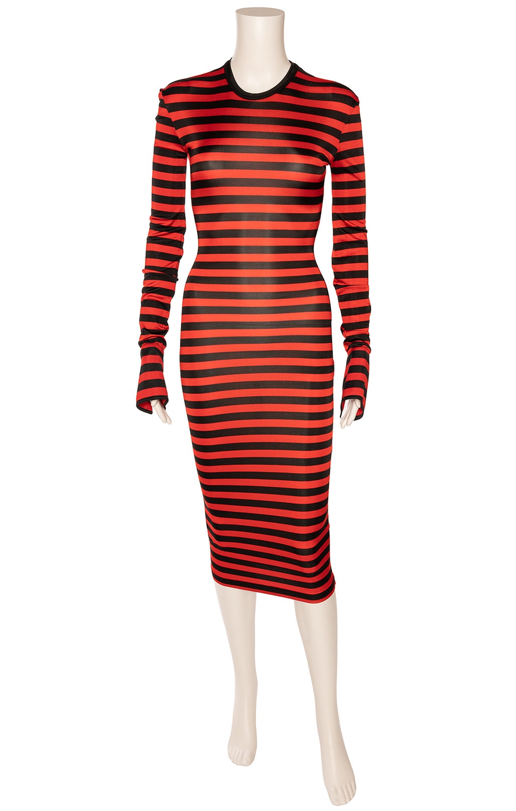 Red s d navy stripe midi dress with trumpet like cuff And button decoration