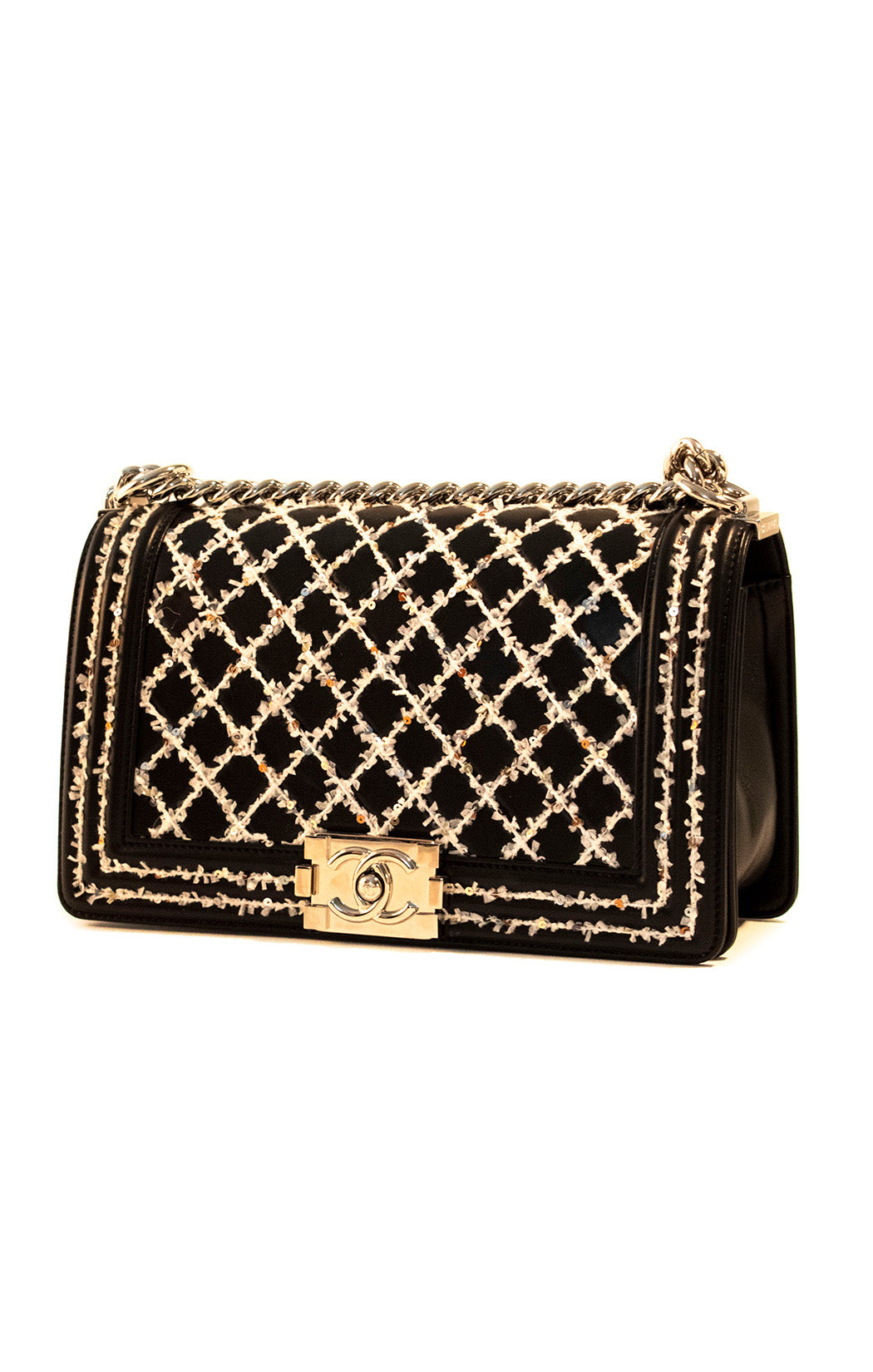 "Front view of CHANEL Handbag Size: 10"" W, 6"" H, 3.5"" D"