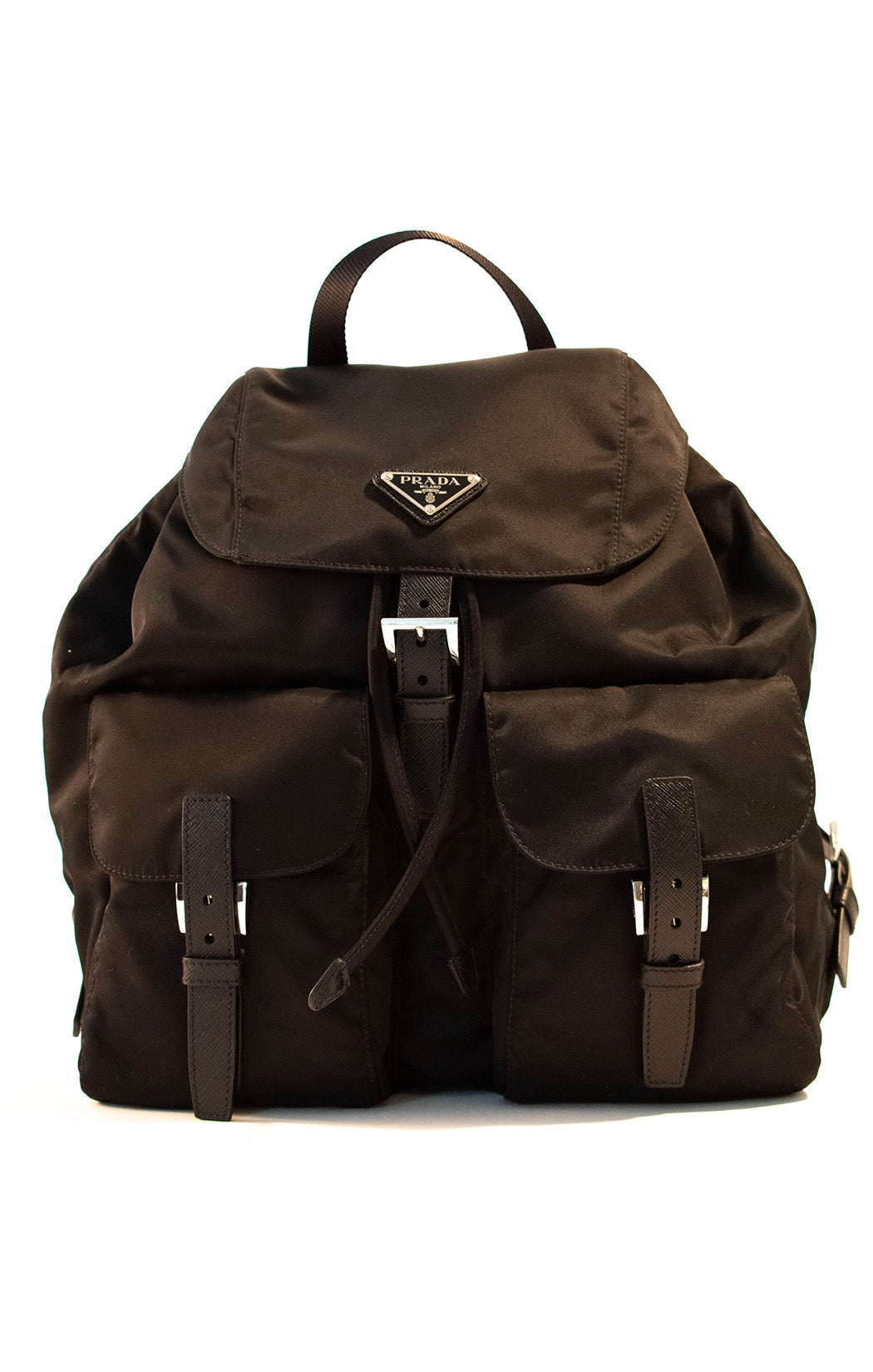 "Front view of PRADA Backpack Size: 13"" H, 11"" W, 6.5"" D"