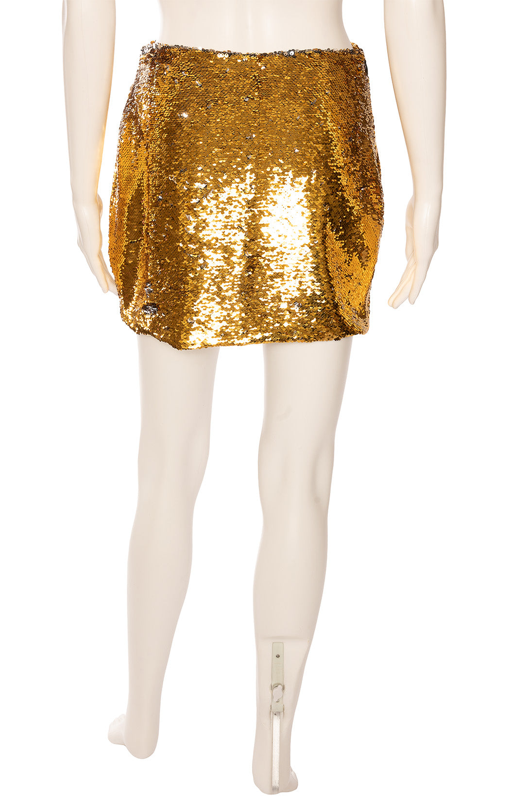 Gold sequined side zipper mini skirt