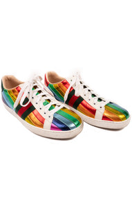 Multi Rainbow colored shiny stripe tennis shoes