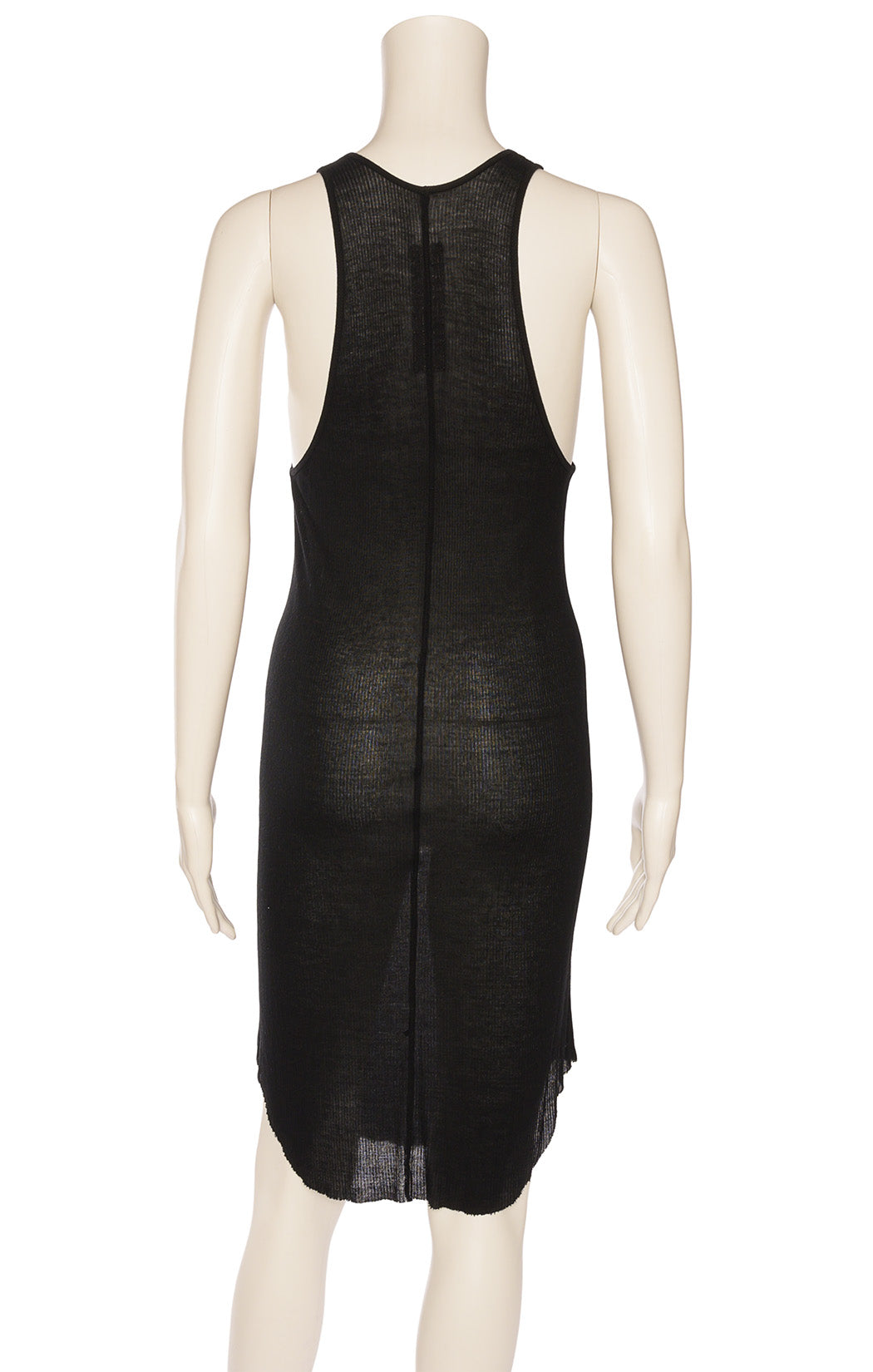 Black sleeveless tank style dress with long arm holes