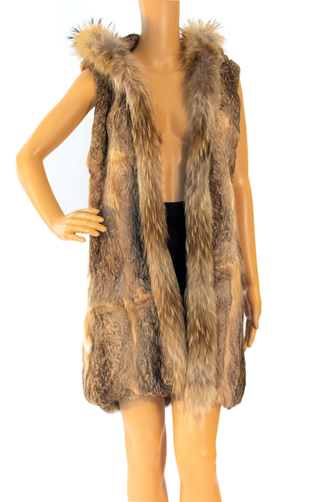 Front view of NO NAME Rabbit fur vest Size: no size tags fits like XS/Small