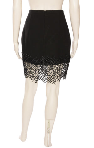 Black skirt with back zipper and crackle lace webbed hemline