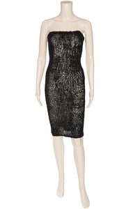 Black strapless hand made open weave strapless form fitting dress with elastic at top