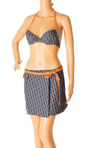 Front view of CHRISTIAN DIOR Bikini and matching wrap skirt Size: Top 32 B, Bottom 8, wrap one size