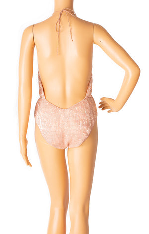 Back view of OSEREE with tags One piece bathing suit