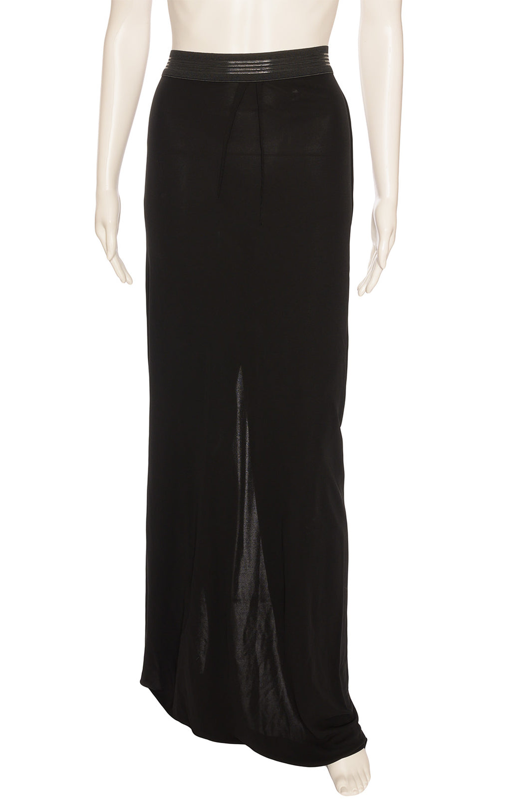 Black long skirt with rubber like waistband and back zipper with high back slit