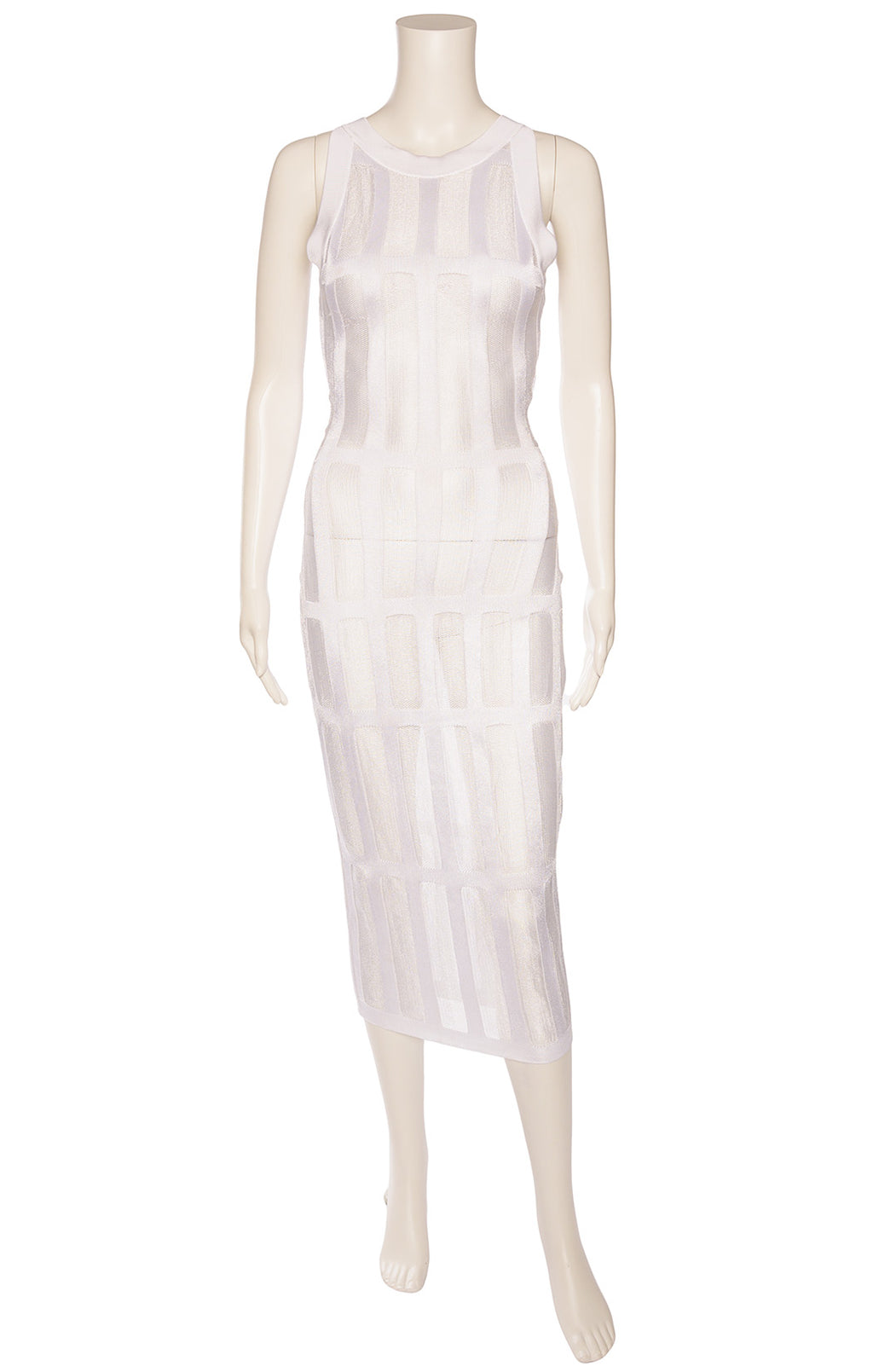 White sleeveless loose weave window pane design form fitting midi dress with back gold zipper