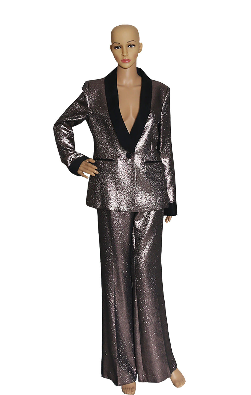 Front view of RACHEL ZOE  Tuxedo Suit with Tags Size: US 10