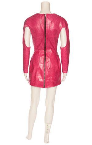 Pink leather long sleeve zipper bodice front with open waist and side area, open top area of sleeves and back silver zipper
