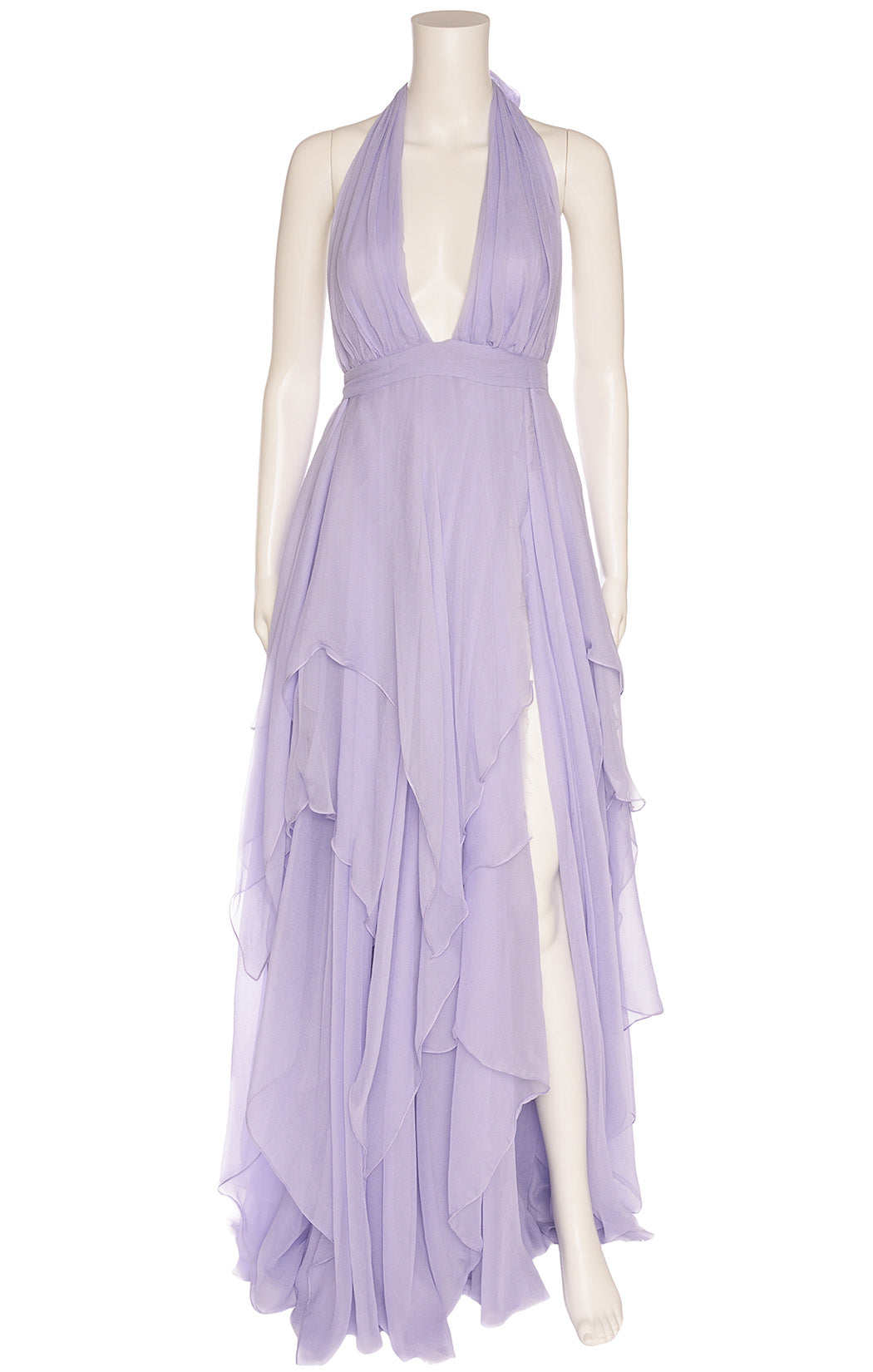 Lavender halter low neck long dress with full multi tiered bottom