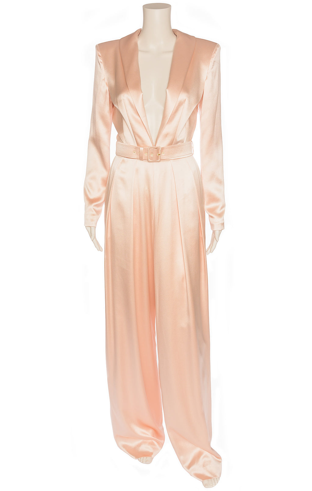 Light pink satin like fabric jumpsuit