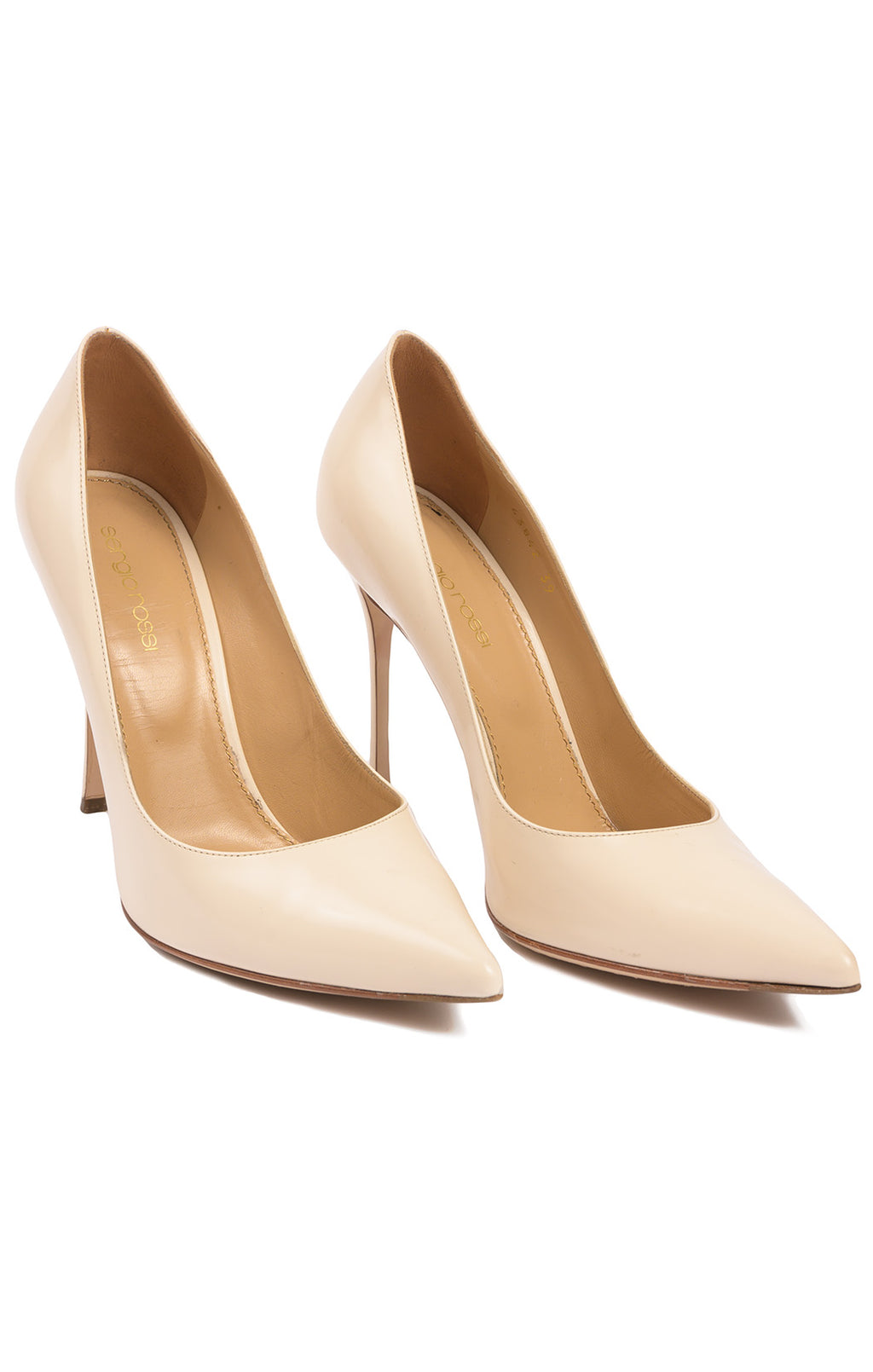 "Beige pointed toe 4.25"" high heeled pump"