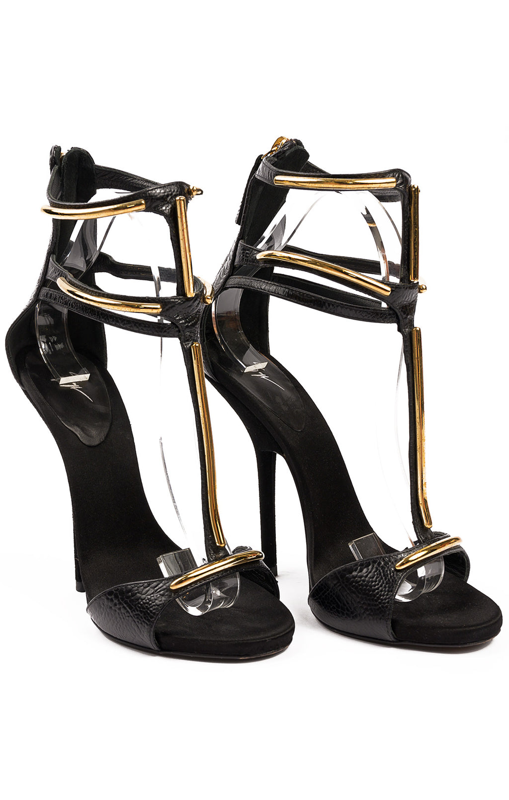 "Black leather with gold metal decoration open toe, triple ankle strap high heel (5.25"")"