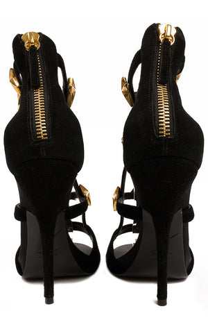 Black suede open toe sandal with front straps with gold star decoration