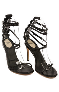 "Black multi strap open toe criss cross front double ankle strap sandal with 4.25"" heel, high back embossed leather with silver buckles"