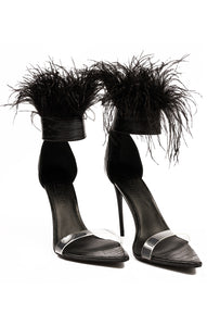 "Black croc embossed leather sandal with lucite toe strap and ankle strap with black feathers, zipper back and 5"" heel"