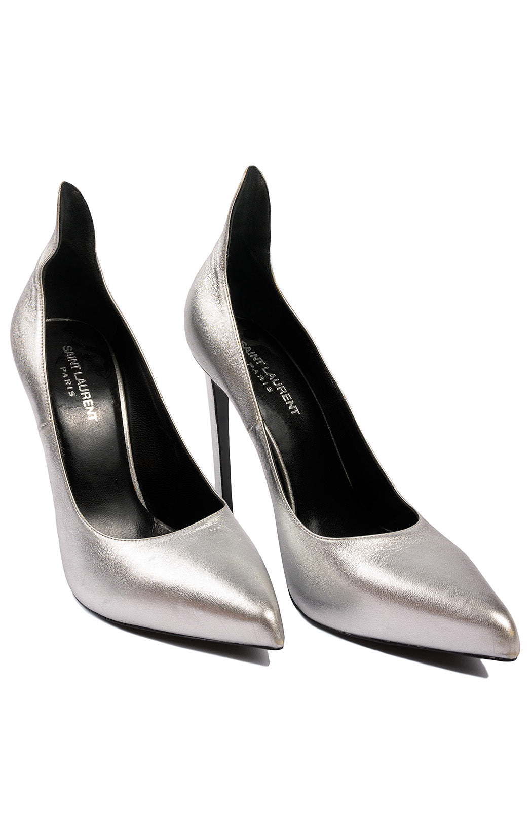 "Silver high heeled (4.75"") pump with high back"
