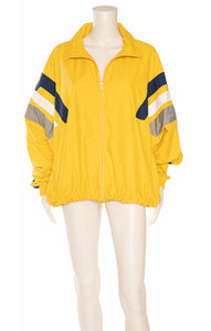 Yellow with blue white and gray stripe zipper jacket