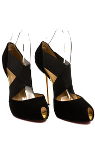 "Black suede peep toe elastic front criss cross pump with gold metal 5"" heel"