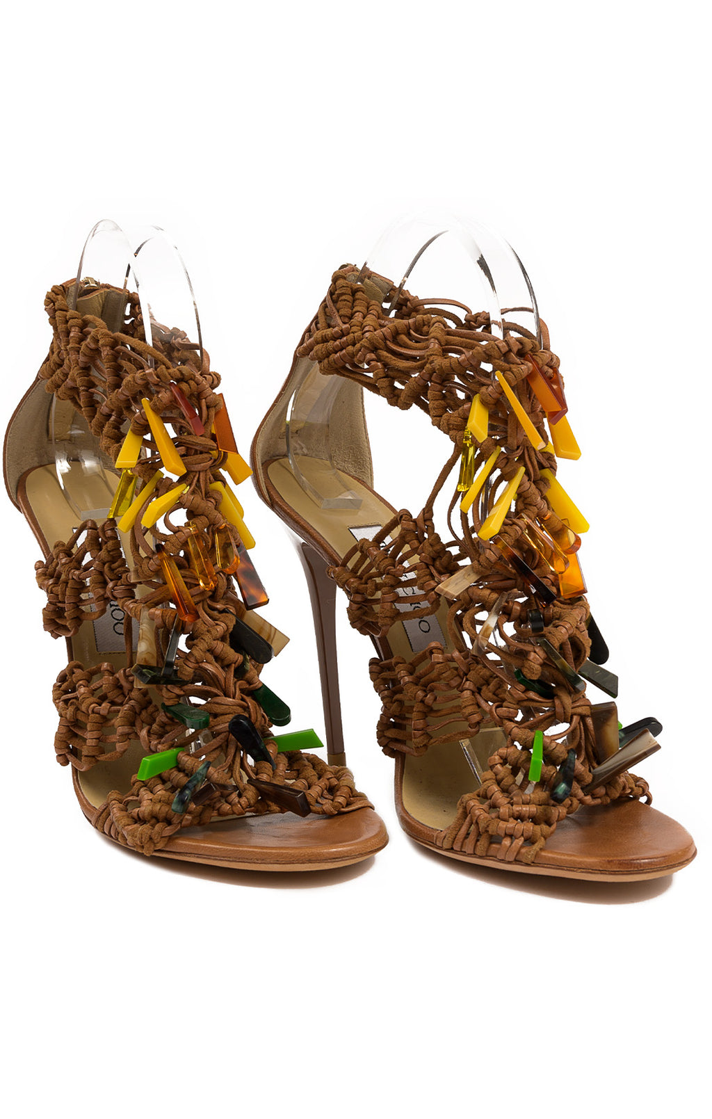 "Tobacco caramel colored woven leather with multi colored decoration open toe high heel sandal (5"") with zipper back"