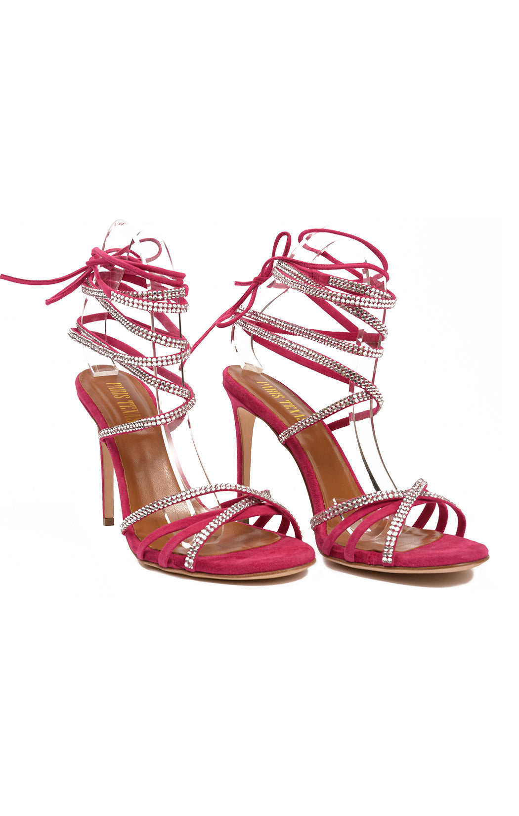 "Pink with rhinestones multi ankle strap sandal with 5"" heel"