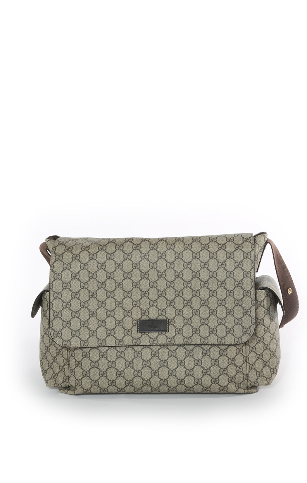 Front view of GUCCI Diaper Bag Size: 15 in x 11 in x 6 in