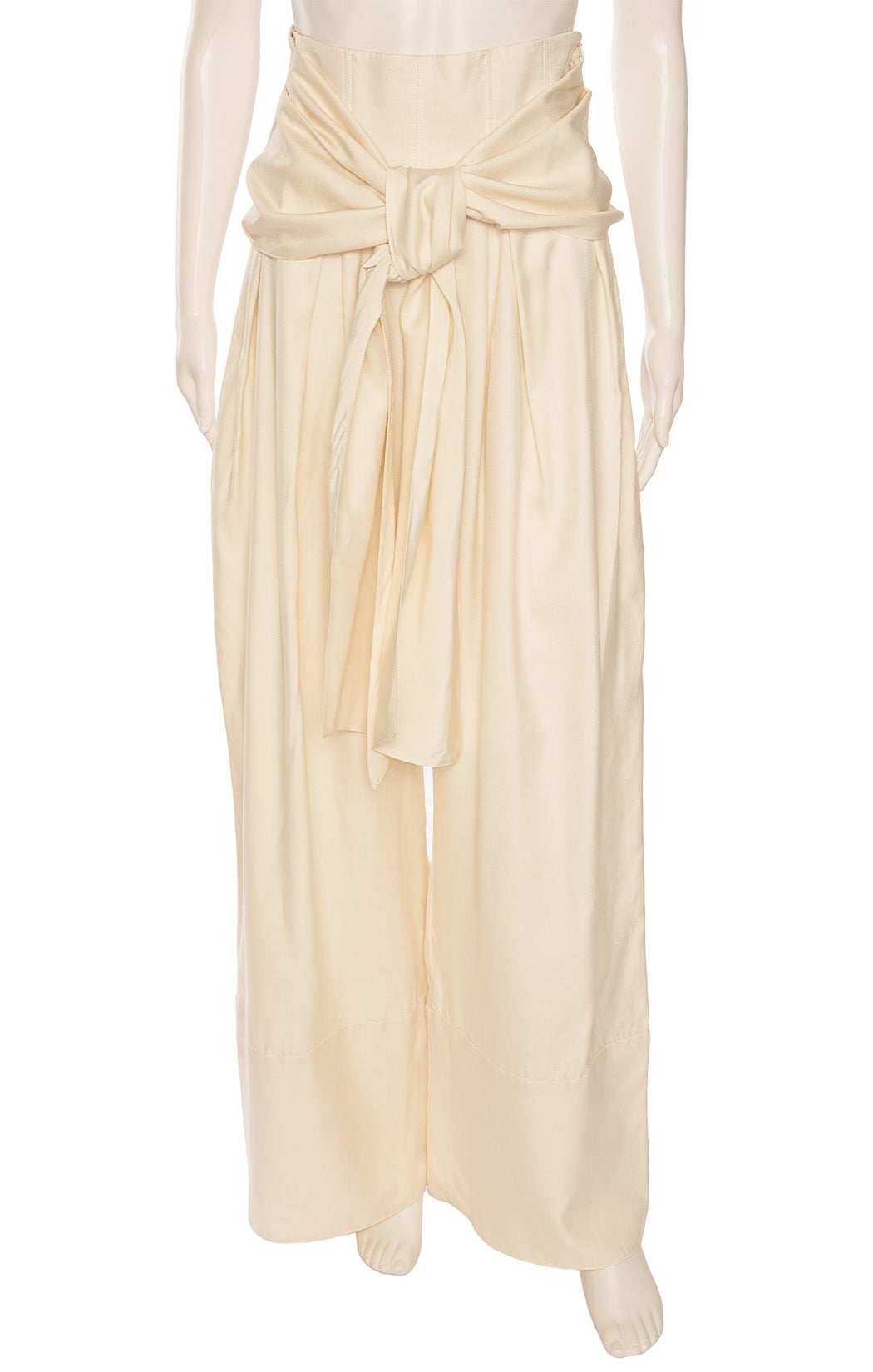 Ivory full pleated  pant with high waist, side zipper, attached belt and very full pant legs