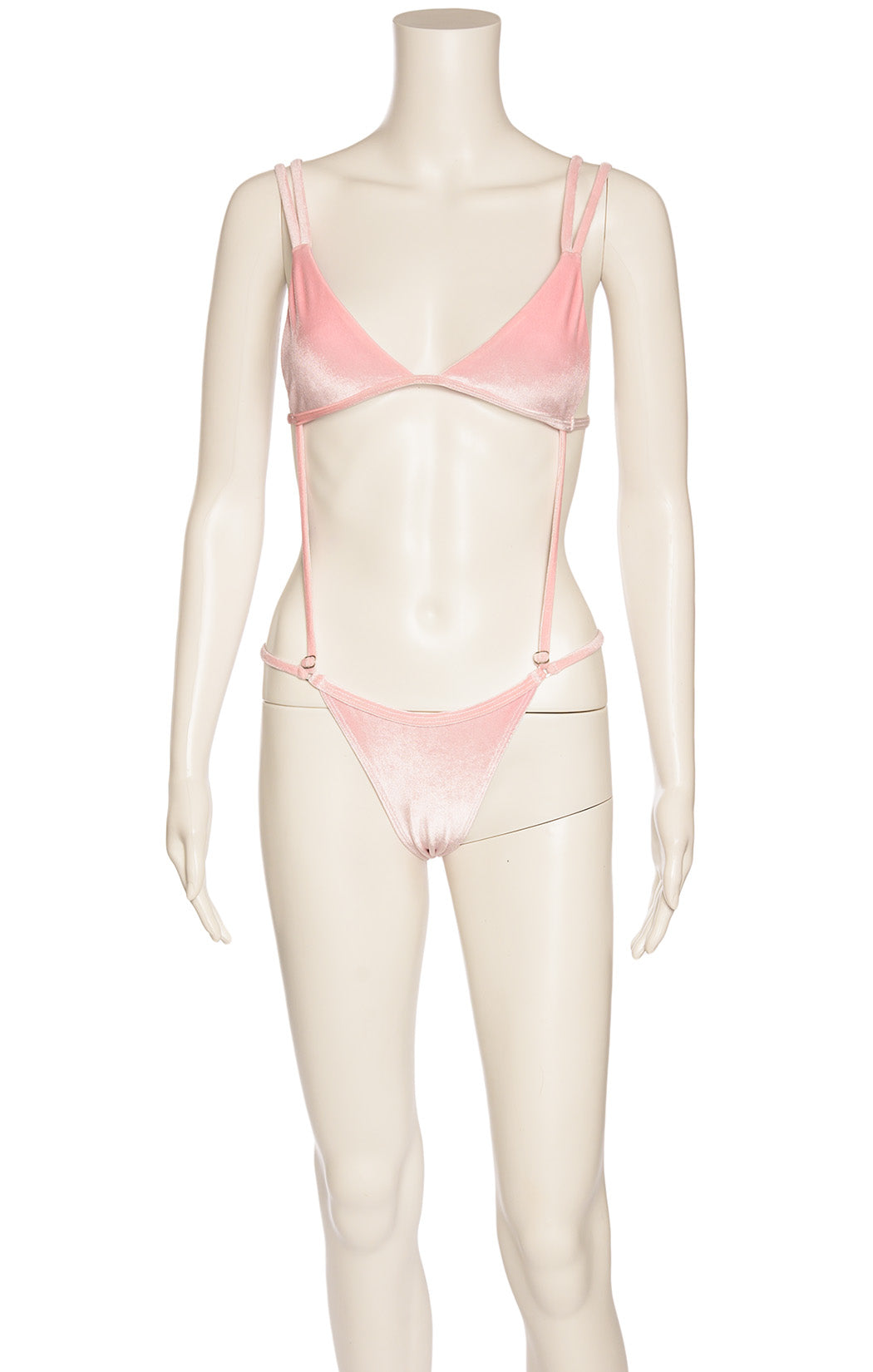 Pink velvet like fabric bikini with attached straps