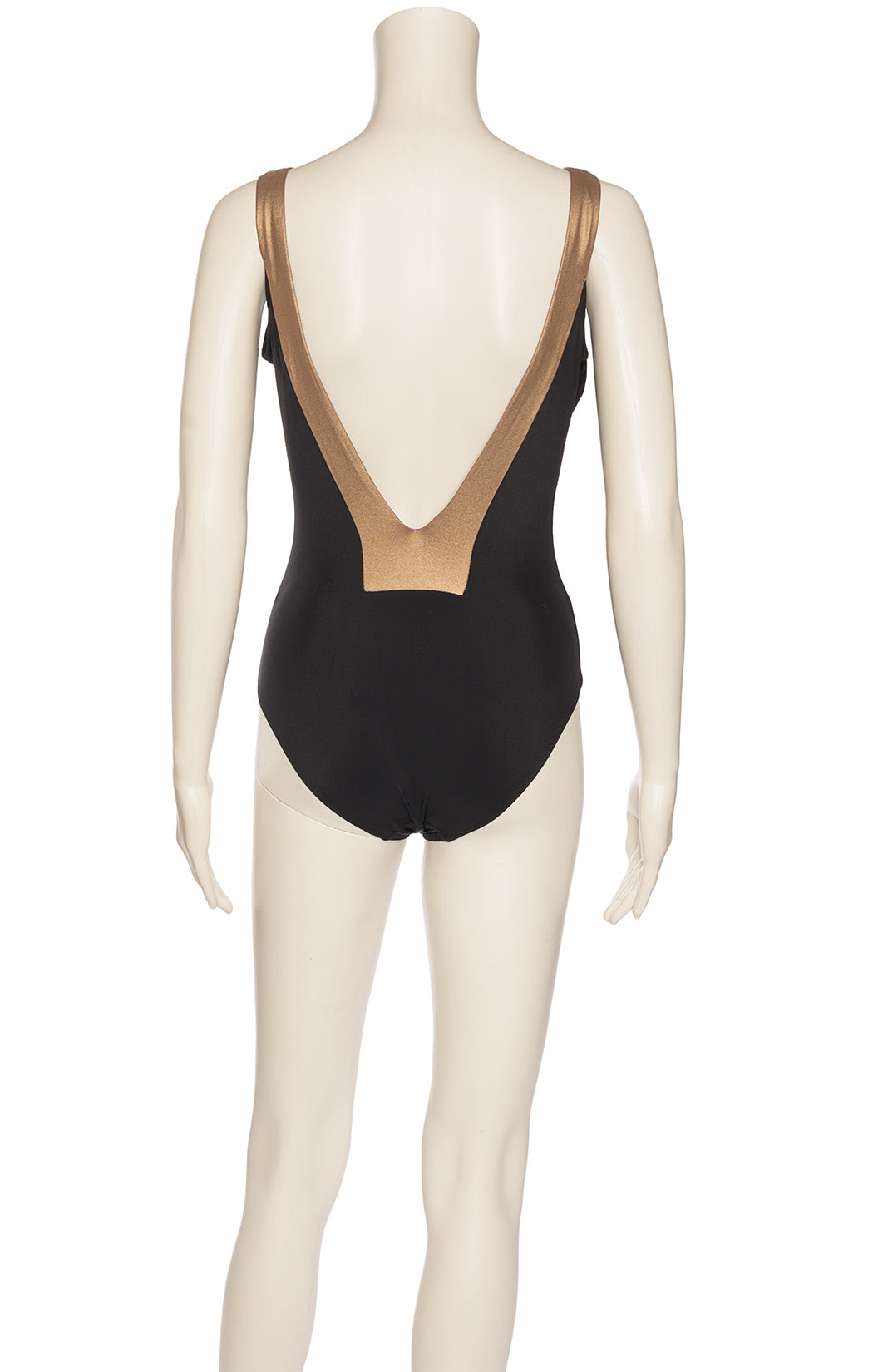 Black and bronze one piece bathing suit