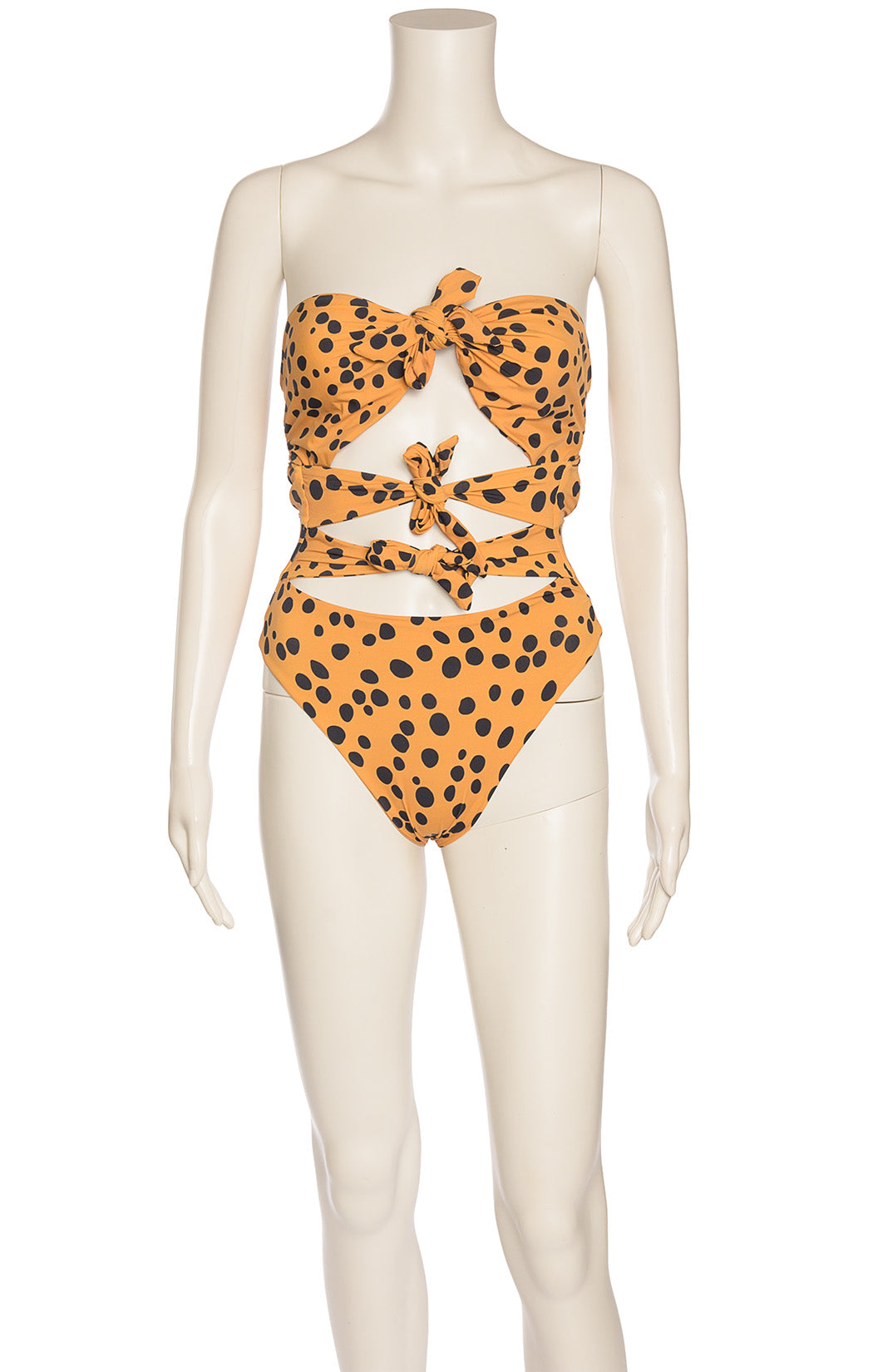 Dalmatian dot three tie front one piece bathing suit