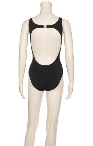 Black one piece bathing suit with front double round crystal decoration