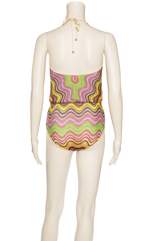 Pink purple yellow green and brown zig zag print one piece halter bathing suit