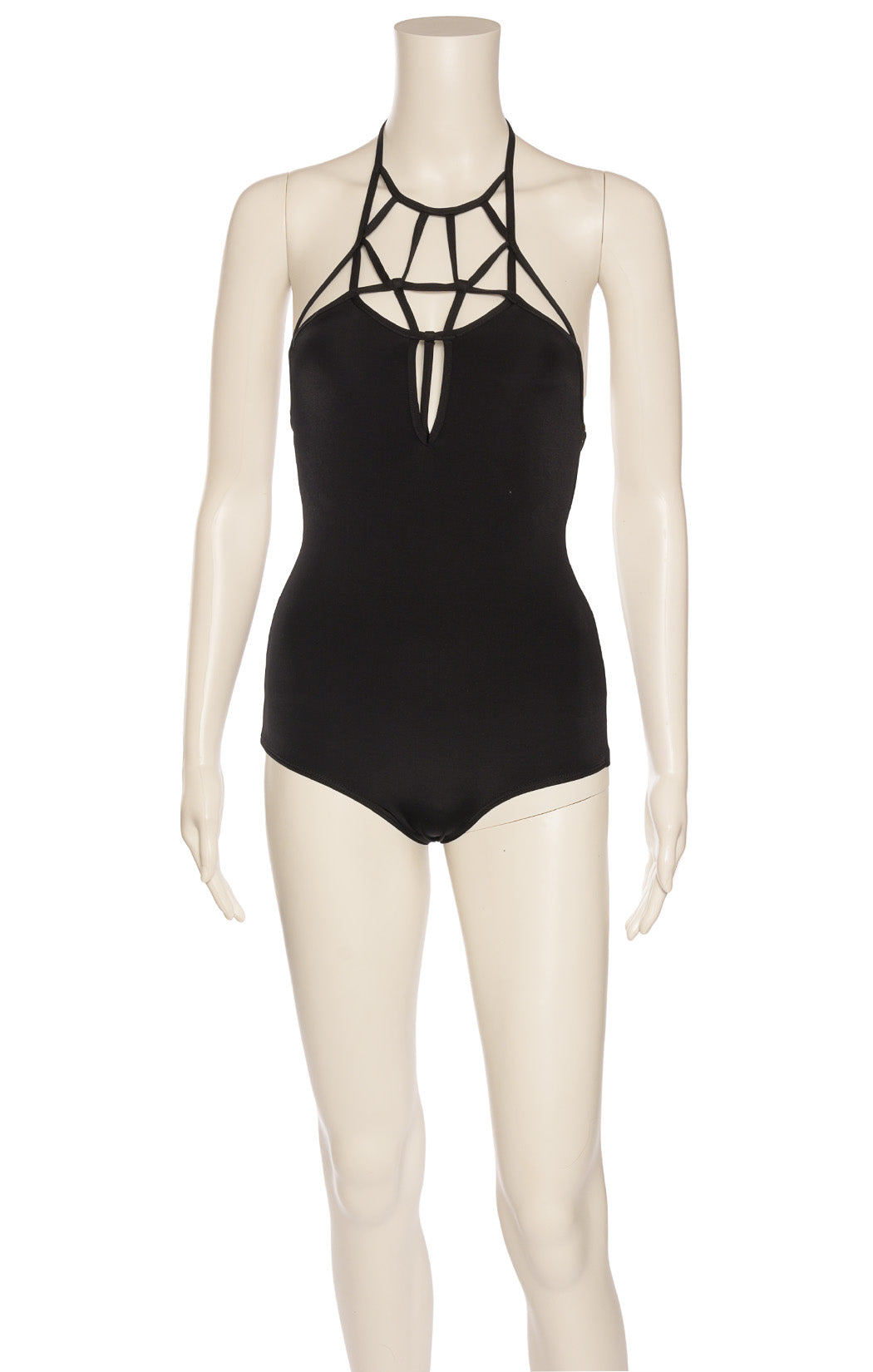 Black one piece bathing suit with front top strap design